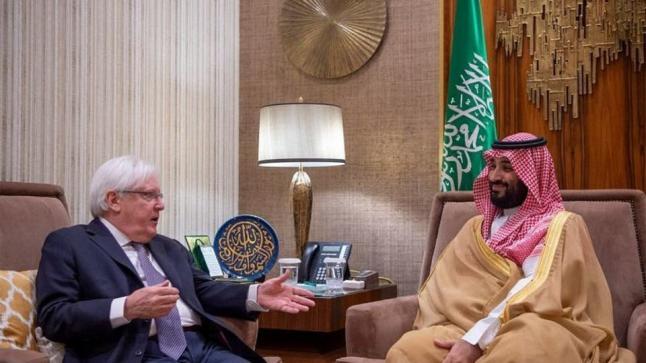 ولي عهد المملكة يلتقي بالمبعوث الأممي الخاص إلى اليمن لبحث تطورات الأوضاع اليمنية